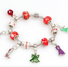 Wholesale Fashion Style Red Beads Charm Bracelet with Frog and Dress Pendant