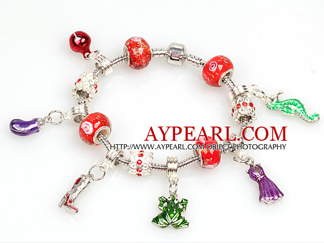 Fashion Style Red Beads Charm Bracelet with Frog and Dress Pendant