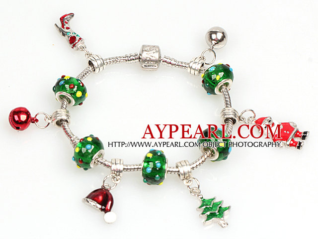 Fashion Style Christmas Charm Bracelet with Christmas Tree and Santa Claus Pendant