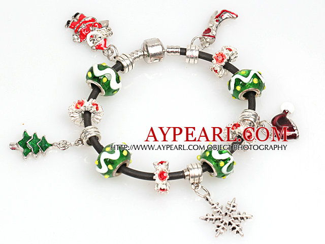 Fashion Style Christmas Charm Bracelet with Black Leather
