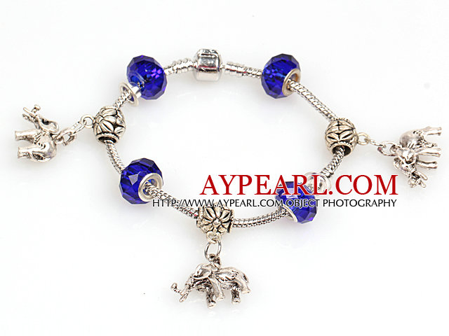 Fashion Style Dark Blue Colored Glaze Charm Bracelet with Elephant Pendant