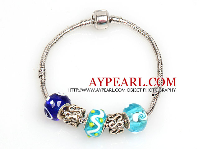 Fashion Style Blue Series Charm Colored Glaze Bracelet