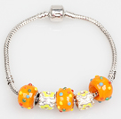 Mote Stil Orange Color Farget Glaze Charm Bracelet