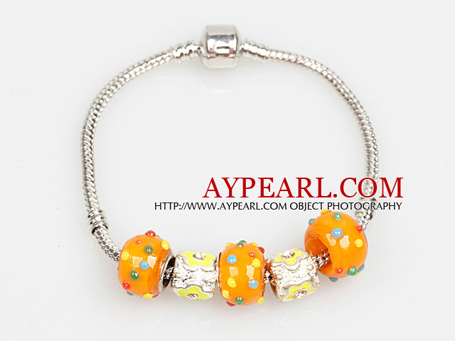 Fashion Style Orange Color Colored Glaze Charm Bracelet