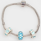 Fashion Style simple de couleur bleue claire Charm Bracelet Glaze