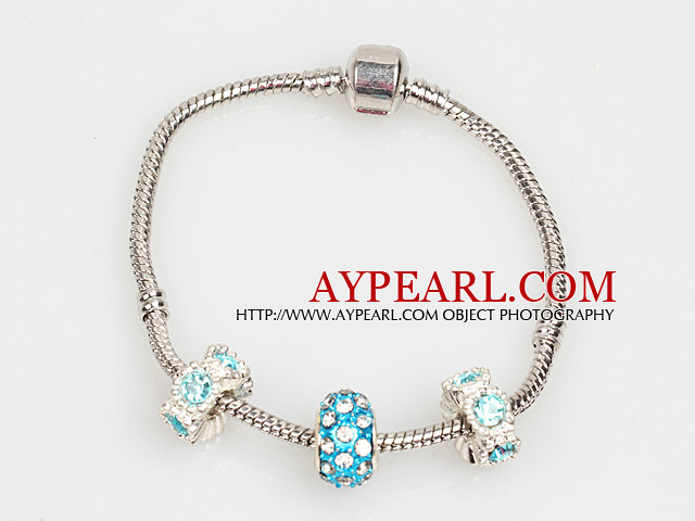 Simple Fashion Style Light Blue Colored Glaze Charm Bracelet