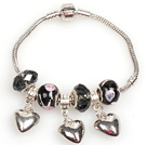 Wholesale Fashion Style Black Colored Glaze Charm Bracelet with Heart Shart Alloy Pendant