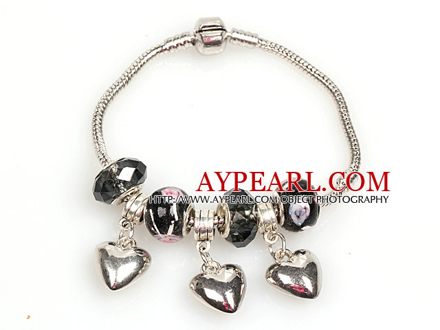 Fashion Style Black Colored Glaze Charm Bracelet with Heart Shart Alloy Pendant