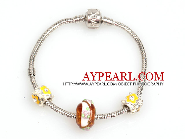 Simple and Fashion Style Yellow Colored Glaze Charm Bracelet