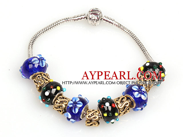 Fashion Style Dark Blue and Black Colored Glaze Charm Bracelet