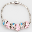 Fashion Style Rose Colored Charm Bracelet Glaze