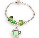 Fashion Style Light Green Colored Glaze Charm Bracelet