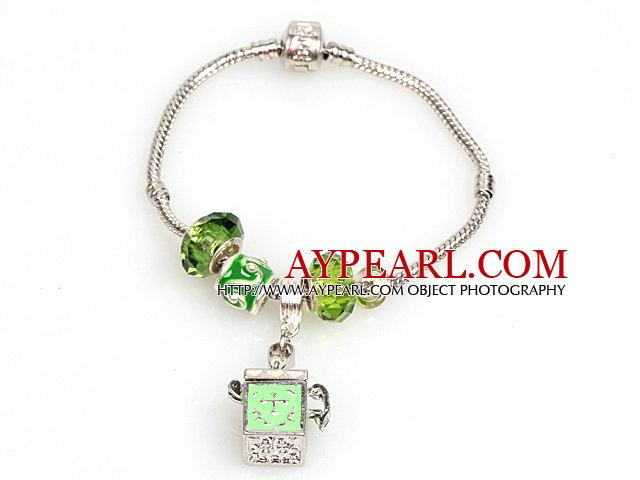 Fashion Style Light Green Colored Glaze Charm Bracelet