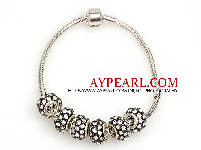 Fashion Style Black Colored Glaze Charm Bracelet