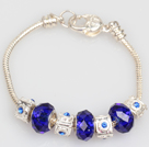 Fashion Style Dark Blue Colored Glaze Charm Bracelet with Lobster Clasp