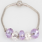 Mode Lumière Purple Style Man Made Charm Bracelet Cristal