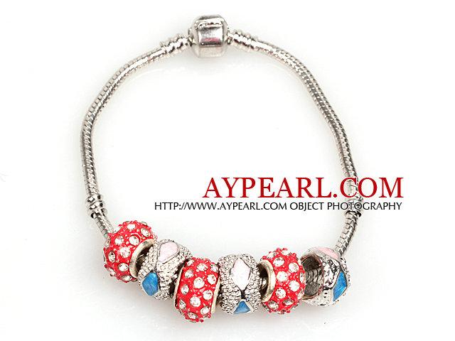 Fashion Style Red Colored Glaze Charm Bracelet Jewelry