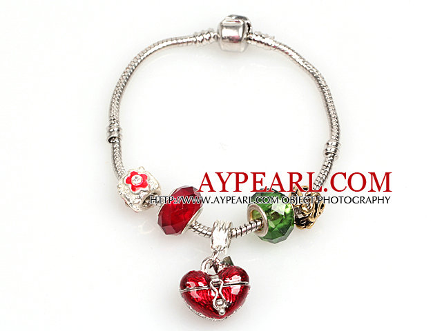 Fashion Style Red and Green Colored Glaze Charm Bracelet with Wish Box Pendant