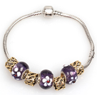 Wholesale Fashion Style Dark Purple Colored Glaze Charm Bracelet