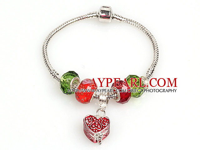 Fashion Style Red and Green Colored Glaze Charm Bracelet with Heart Shape Wish Box Pendant