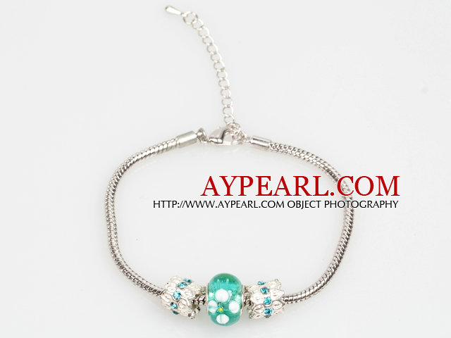Simple and Fashion Style Lake Blue Colored Glaze Charm Bracelet