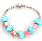 Fashion Style Rose et Charm Bracelet Blue Lake glacis de couleur