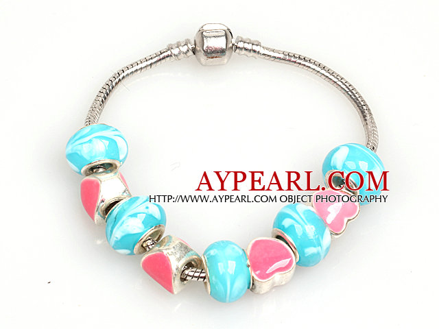 Fashion Style Pink and Lake Blue Colored Glaze Charm Bracelet