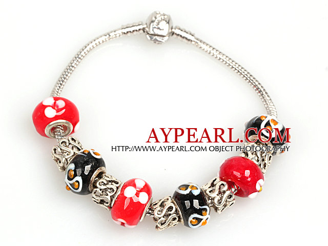 Fashion Style Red and Black Colored Glaze Charm Bracelet