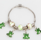 Wholesale Fashion Style Green Colored Glaze Charm Bracelet with Frog Pendant