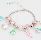 Wholesale Fashion Style Pink Colored Glaze Charm Bracelet with Shell and Fish Pendant