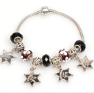 Fashion Style Black Colored Glaze Charm Bracelet with Star Pendant