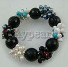 Wholesale elastic pearl turquoise agate bracelet