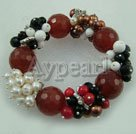 Wholesale elastic pearl red agate bracelet