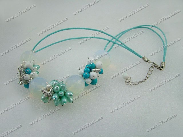 pearl turquoise opal crystal necklace