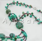 natural turquoise garnet necklace