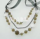 smoky quartz white turquoise necklace