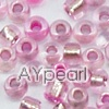 Glass seed beads,silver-lined pink , 2.5mm round. Sold per pkg of 450 grams.