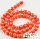 Coral Beads, Orange, 7mm round, Sold per 15.7-inch strand