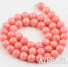 Coral Beads, Pink, 8mm round,Sold per 15.7-inch strands