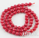 Coral Beads, Red, 6mm round faceted, Sold per 15.7-inch strand