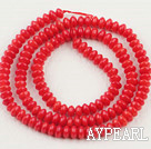 coral beads,3*5mm disc,red,sold per 15.75-inch strand