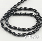 black agate beads,6*9mm drum,faceted,Grade A ,sold per 15.75-inch strand