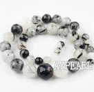 Black Rutilated Quartz beads,8-16mm round,faceted,tower,Sold per 15.75-inch strands