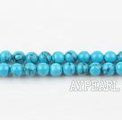 turquoise beads,4mm round ,with black veins, blue , sold per 15.75-inch strand