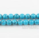 turquoise beads,6mm round ,with black veins, blue , sold per 15.75-inch strand