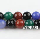 seven color agate beads,10mm round, sold per 15.75-inch strand