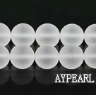 white crystal beads ,12mm round,frosted,sold per 15.75-inch strand