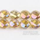 manmade crystal beads,6*12mm potato slice, accompany with the golden chanpagne color, sold per 14.17inches strand