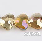manmade crystal beads,8*23*20mm heart,accompany with the yellow color,Sold per 14.17-inch strands