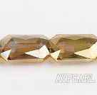 manmade crystal beads,10*18*22mm rectangle,accompany with yellow color ,sold per 13.58inch strand